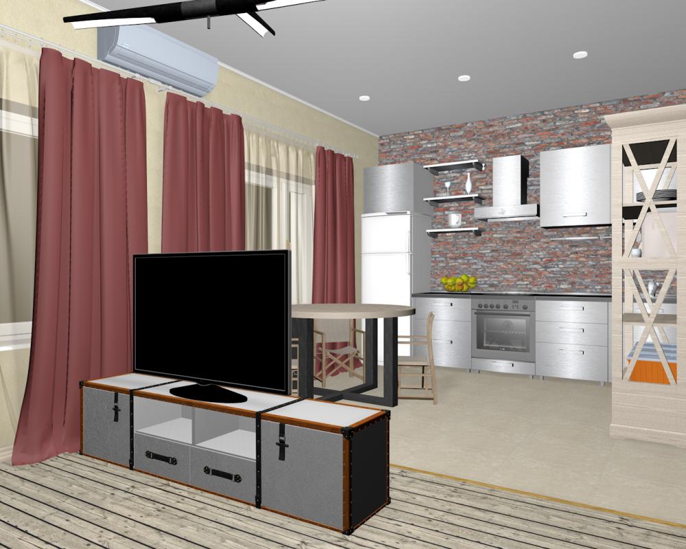гостиная_кухня_Лофт-4