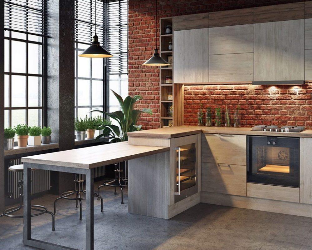 Интерьер-кухни-в-стиле-лофт